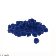 Lot de pompons 15 mm - Bleu - Environ 50 pcs