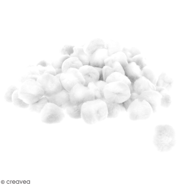 Lot de pompons 30 mm - Blanc - Environ 100 pcs - Photo n°1