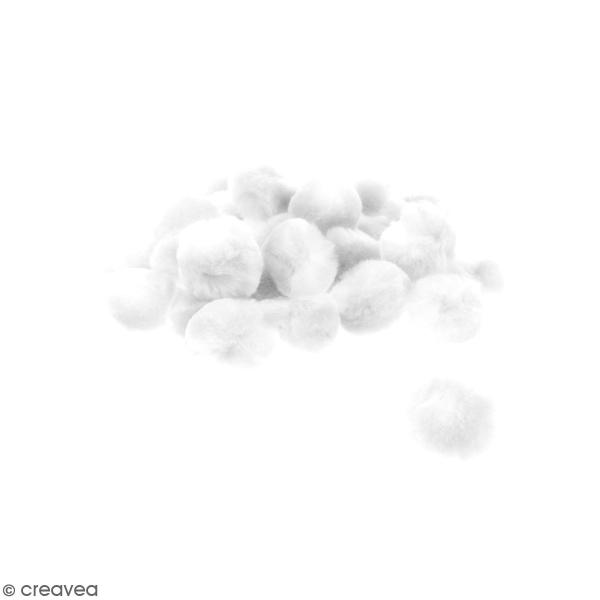 Lot de pompons 30 mm - Blanc - Environ 30 pcs - Photo n°1