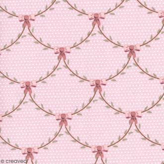 Tissu With Love - Feuillages noeuds - Fond Rose - Par 10 cm (sur mesure)