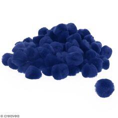 Lot de pompons 30 mm - Bleu - Environ 100 pcs