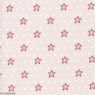 Tissu With Love - Etoiles roses - Fond Violet à pois - Par 10 cm (sur mesure)