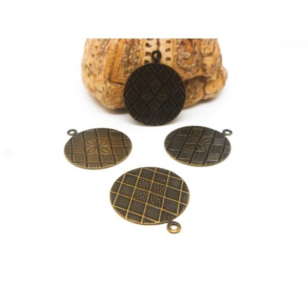 5 Breloques fines rondes - 17mm - quadrillé avec petite fleur - laiton bronze - Photo n°1