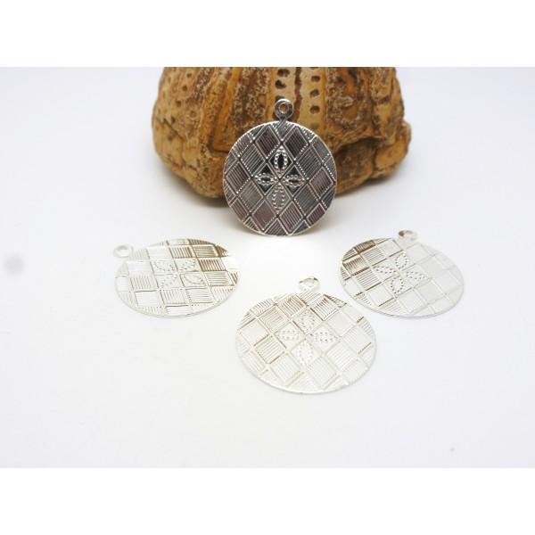 5 Breloques fines rondes - 17mm - quadrillé avec petite fleur - laiton argenté - Photo n°1