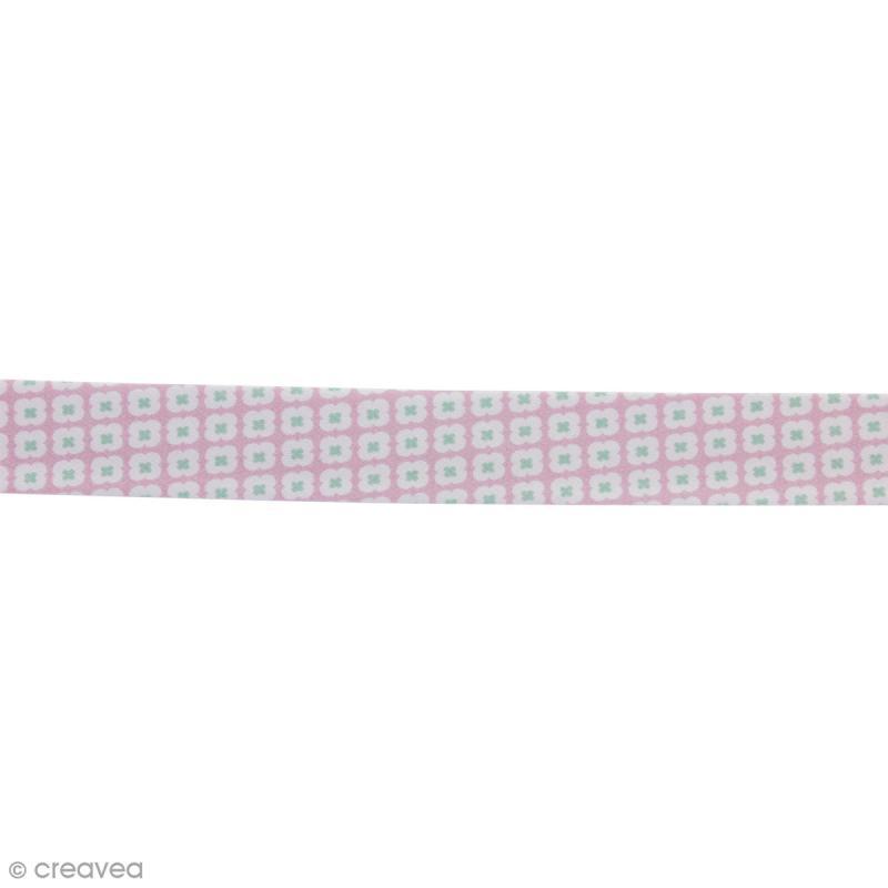 biais tormentille rose glac 100 coton 22 mm au m tre sur mesure biais fantaisie. Black Bedroom Furniture Sets. Home Design Ideas
