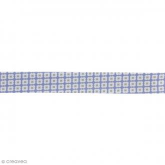 Biais Tormentille - Bleu glacé - 100% coton - 22 mm - Au mètre (sur mesure)