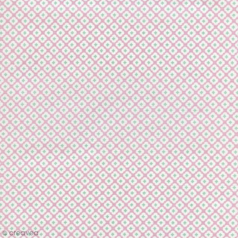 tissu tormentille rose glac percale de coton par 10 cm sur mesure tissu au m tre. Black Bedroom Furniture Sets. Home Design Ideas