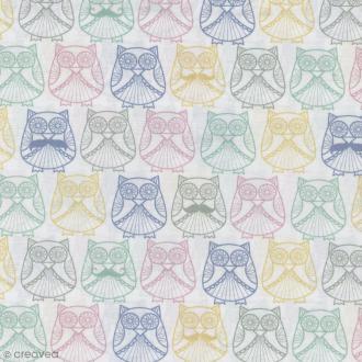 Tissu Mme et M. Hibou en Scandinavie - Multicolore - Percale de coton - Par 10 cm (sur mesure)