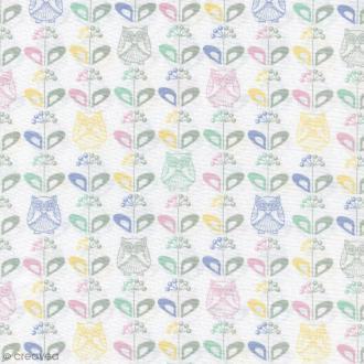 Tissu Mme Hibou au jardin - Multicolore - Percale de coton - Par 10 cm (sur mesure)