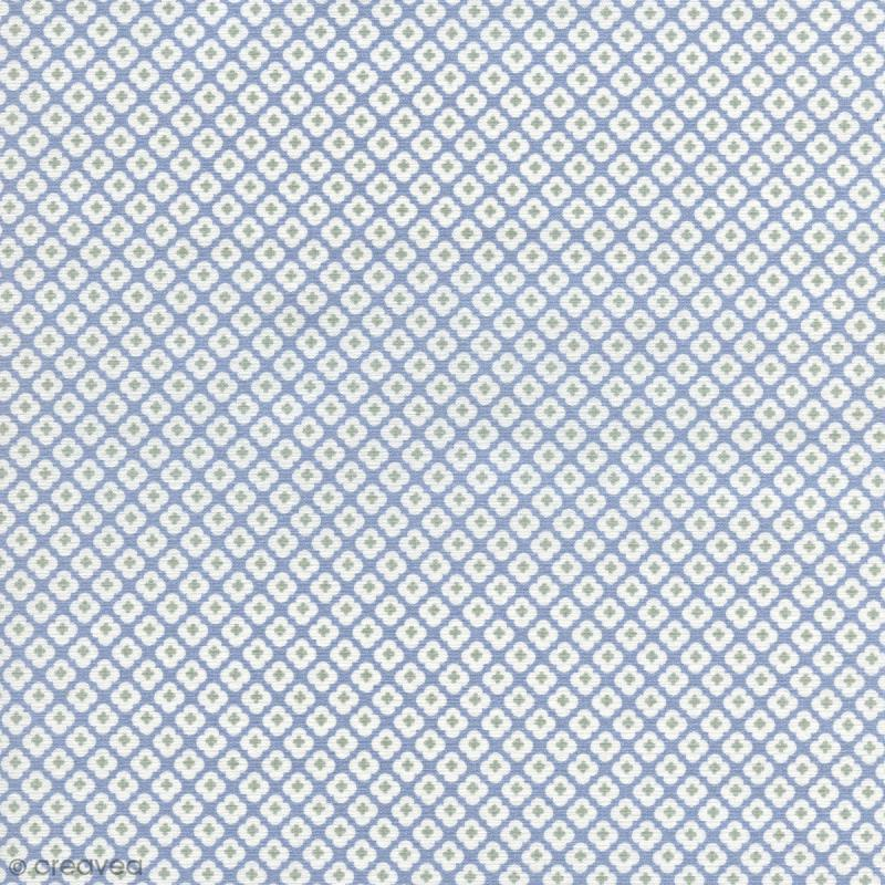 tissu tormentille bleu glac coton enduit par 10 cm sur mesure tissu au m tre creavea. Black Bedroom Furniture Sets. Home Design Ideas