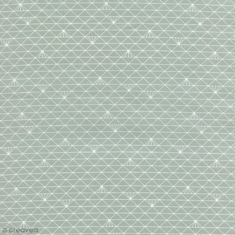 tissu triangle gris glac coton enduit par 10 cm sur mesure tissu au m tre creavea. Black Bedroom Furniture Sets. Home Design Ideas