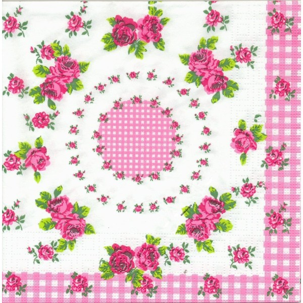 4 Serviettes en papier Vichy et Petites Roses Format Lunch Decoupage Decopatch 6301 PPD - Photo n°1