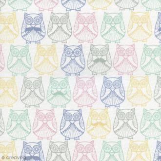 Tissu Mme et M. Hibou en Scandinavie - Multicolore - Coton enduit - Par 10 cm (sur mesure)