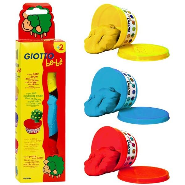 Pâte à modeler GIOTTO Bébé étui 3 pots primaires  de 100 gr - Photo n°1