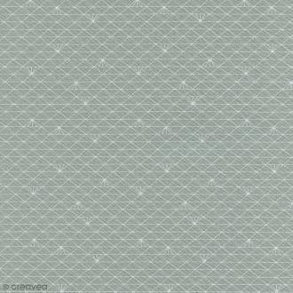 Tissu Christel G Design 96% coton - Gris Lichen glacé - Par 10 cm (sur mesure)