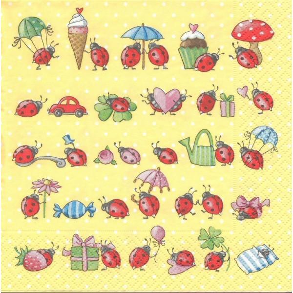 4 Serviettes en papier Coccinelle en Vacances Format Lunch Decoupage LN0729 Colourful Life - Photo n°1