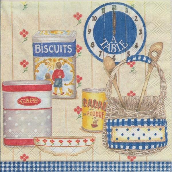 4 Serviettes en papier Cuisine Campagne Format Lunch Decoupage Decopatch L-491940 IHR - Photo n°2
