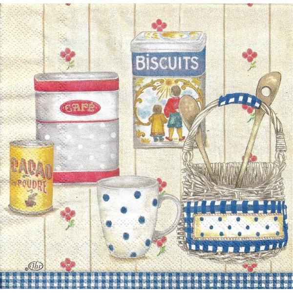 4 Serviettes en papier Cuisine Campagne Format Lunch Decoupage Decopatch L-491940 IHR - Photo n°1