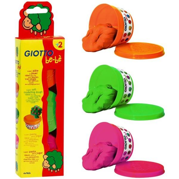 Pâte à modeler GIOTTO Bébé étui 3 pots pastels de 100 gr - Photo n°1