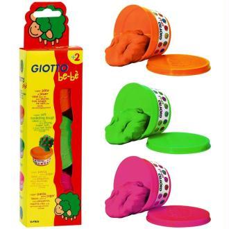 Pâte à modeler GIOTTO Bébé étui 3 pots pastels de 100 gr