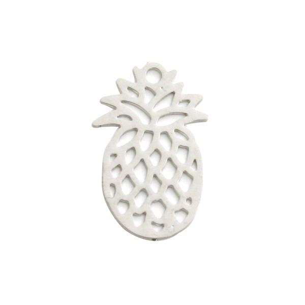 Ananas filigrée 15x9 mm argenté - Photo n°1