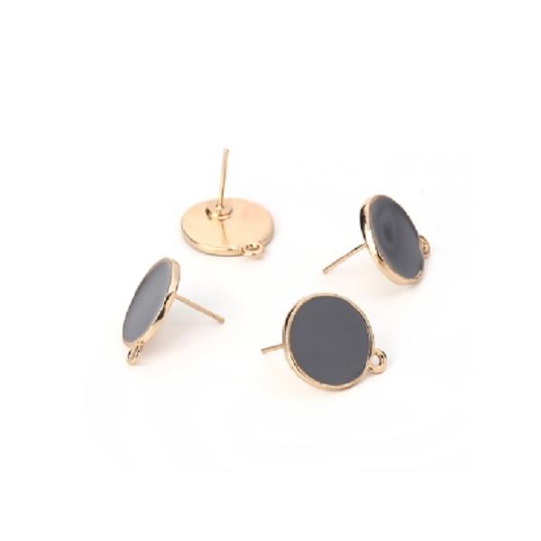 Paire boucles d'oreilles puce, clou - doré et émail gris - 19*16mm - Photo n°1