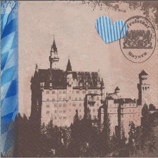 4 Serviettes en papier Château de Neuschwanstein Bavière Format Lunch Decoupage 211300 Home Fashion - Photo n°1