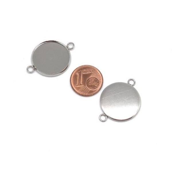 4 Perles Connecteur Pour Cabochon De 18mm En Acier Inoxydable Argenté - Photo n°2