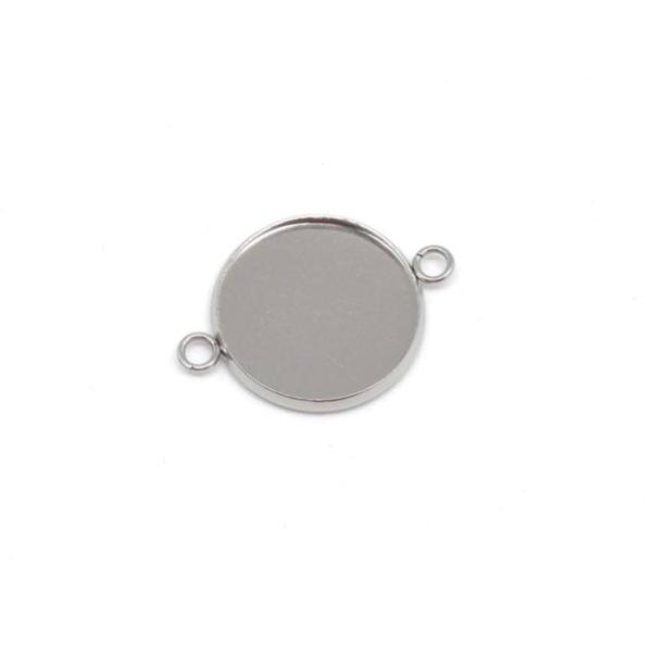 4 Perles Connecteur Pour Cabochon De 18mm En Acier Inoxydable Argenté - Photo n°3
