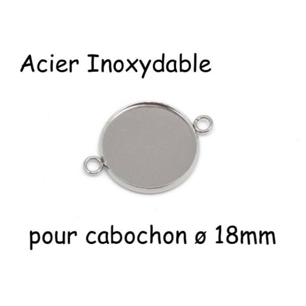 4 Perles Connecteur Pour Cabochon De 18mm En Acier Inoxydable Argenté - Photo n°1