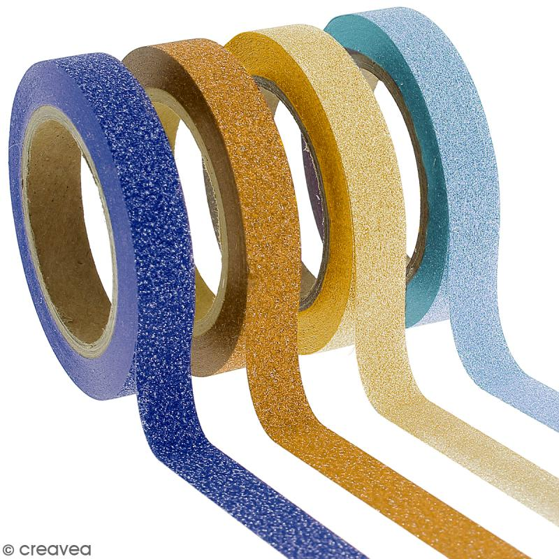 Assortiment Masking tape Glitter Camaieu jaune et bleu - 8 mm x 10 m - 4 pcs - Photo n°1