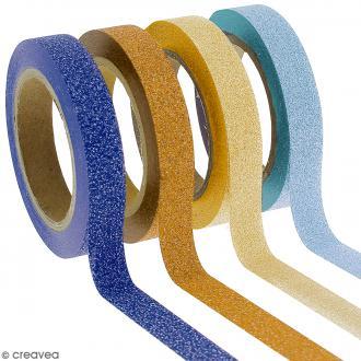 Assortiment Masking tape Glitter Camaieu jaune et bleu - 8 mm x 10 m - 4 pcs