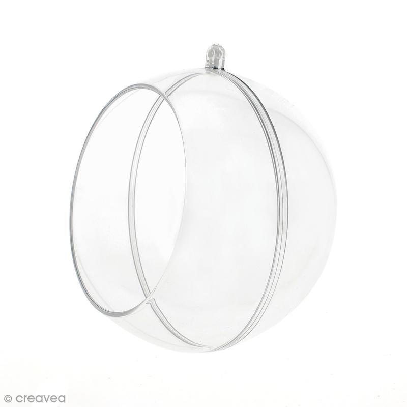 Boule ouverte en plastique transparent - 12 cm - Photo n°1