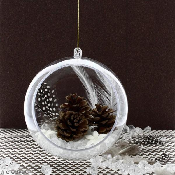 Boule ouverte en plastique transparent - 12 cm - Photo n°2