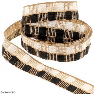 Galon fantaisie brodé - Carré graphique - Noir, blanc et doré - 20 mm - Au mètre (sur mesure)
