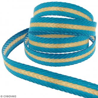 Galon fantaisie brodé - Rayures - Bleu, doré - 18 mm - Au mètre (sur mesure)