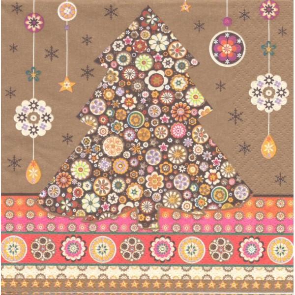 4 Serviettes papier Sapin de Noël oriental Millefiori Format Lunch Decopatch 1110-11552 AvantGarde - Photo n°1