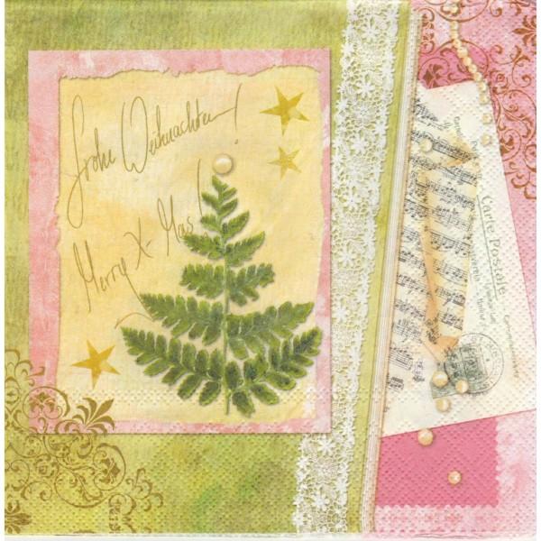 Paquet de 20 Serviettes en papier Carte de Noël Format Lunch Decoupage Decopatch LU601052 Sweet Pac - Photo n°1