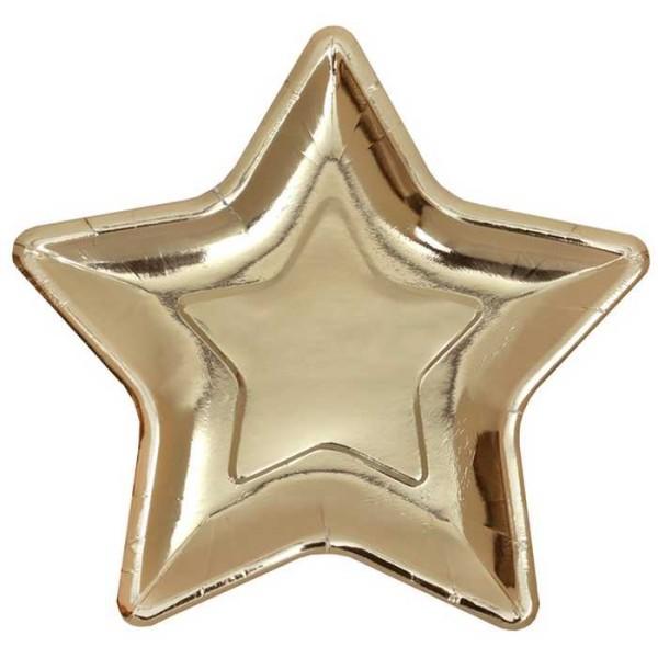 Petite assiette étoile en carton métallisé or x 10 - Photo n°1