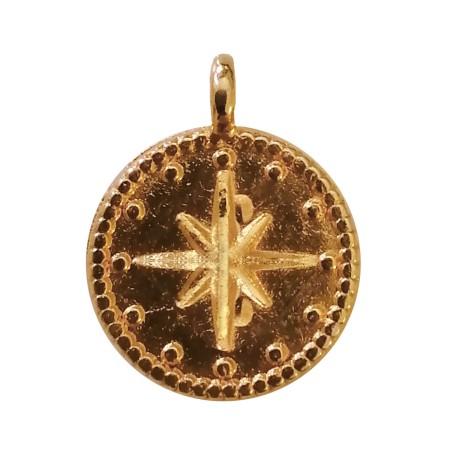 Petite médaille étoile en métal doré vieilli - 12 mm