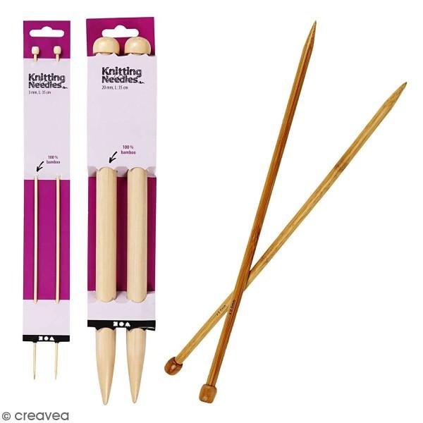 Aiguilles à tricoter - Bambou - 35 cm - Plusieurs tailles - Photo n°1