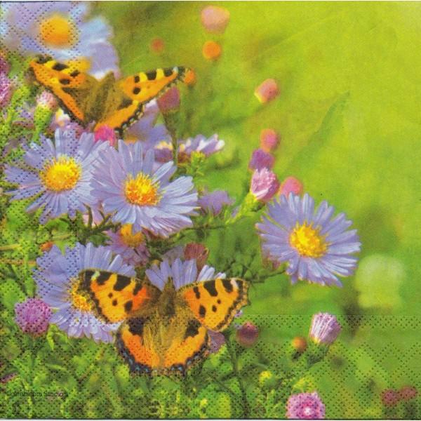 4 Serviettes en papier Papillon & Fleurs Format Lunch Decoupage Decopatch 13305975 Ambiente - Photo n°1