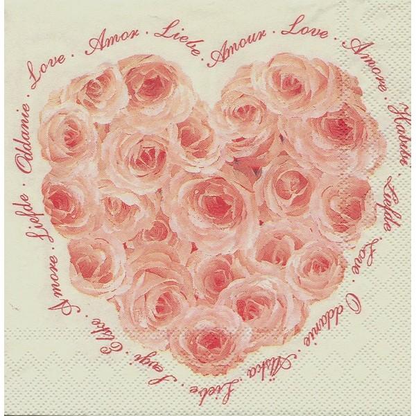 4 Serviettes en papier Cœur de Roses Papillon Format Lunch Decoupage Decopatch L-445160 IHR - Photo n°2