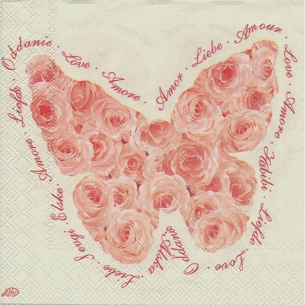 4 Serviettes en papier Cœur de Roses Papillon Format Lunch Decoupage Decopatch L-445160 IHR - Photo n°1