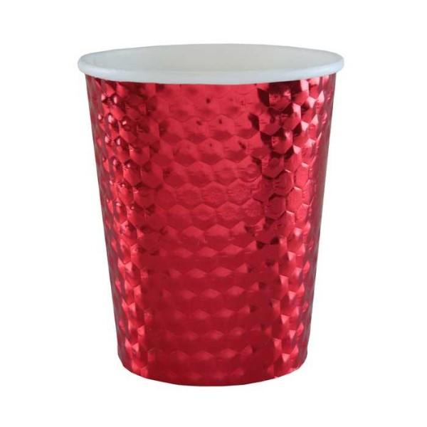 20 Gobelets en carton martelé métallisé rouge - Photo n°1
