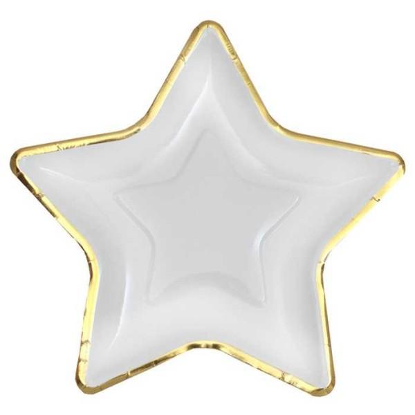 Petite assiette étoile en carton blanc & or métallisé x 10 - Photo n°1