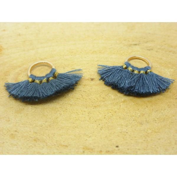 2 Breloques pompons éventail - gris bleuté - 28*19mm - Photo n°1