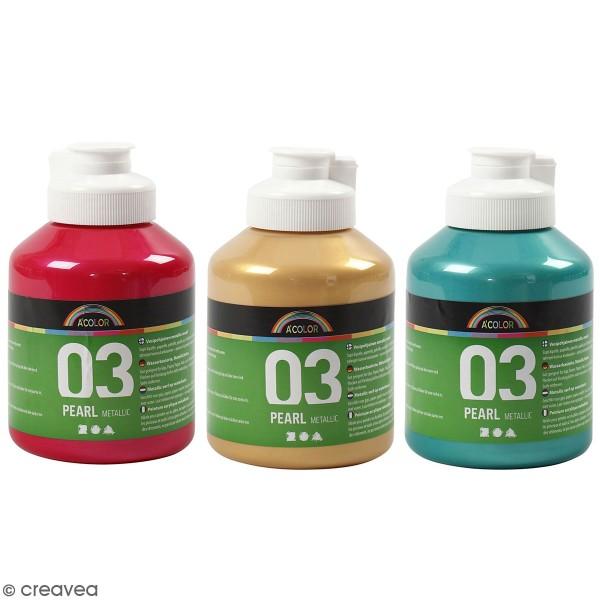 Peinture Acrylique Perle métallique A-Color - Différentes couleurs - 500 ml - Photo n°1