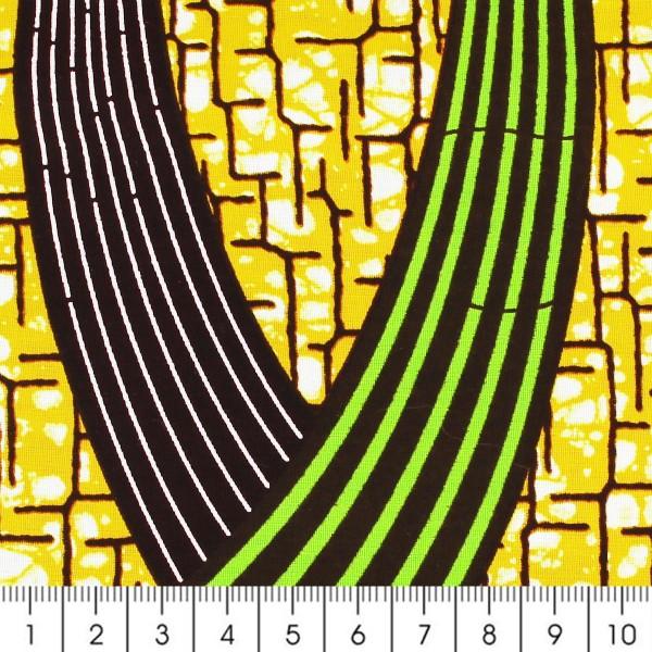 Tissu Wax à la coupe - Jaune moutarde, vert et marron - Par 10 cm - Photo n°2