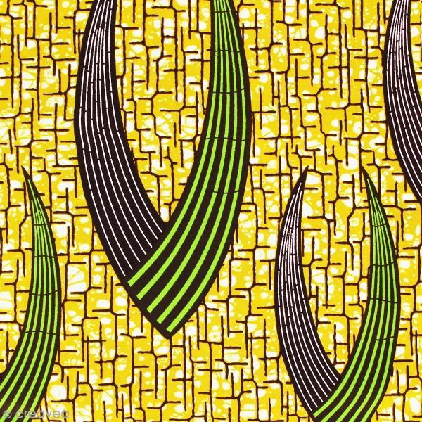 Tissu Wax à la coupe - Jaune moutarde, vert et marron - Par 10 cm - Photo n°1